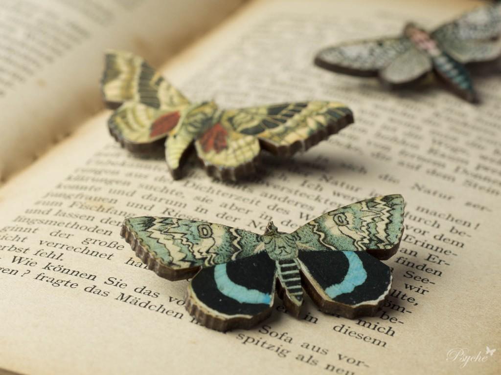 蝶蛾のウッドブローチ シリーズ