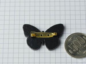 ツマアオシロチョウのウッドブローチ サイズ