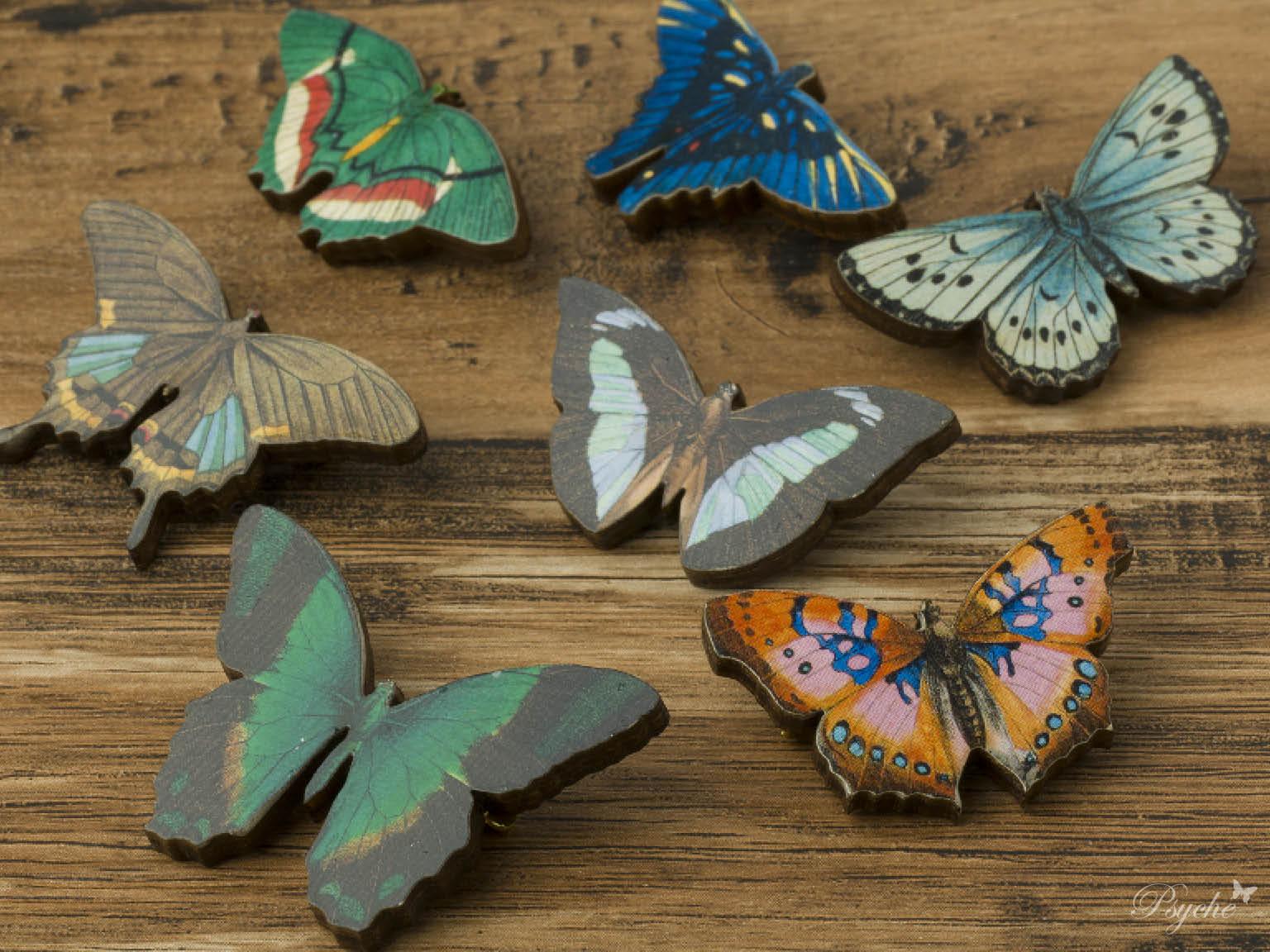 蝶蛾のウッドブローチ