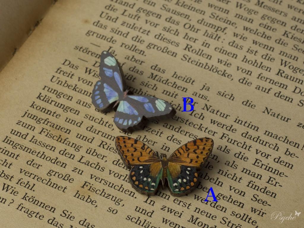 小さな蝶のウッドブローチ